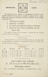 Advert for Photographer's plate glass
